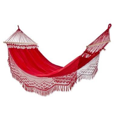 Cotton hammock with spreader bars, 'Tropical Red' (single) - Red Hand Woven Cotton Hammock with Spreader Bar (Single)