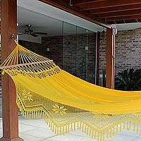 Cotton hammock with spreader bars, 'Tropical Yellow' (single) - Cotton Hammock with Crocheted Fringe Spreader Bar (Single)