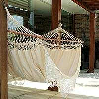Featured review for Cotton hammock with spreader bars, Tropical Nature (single)