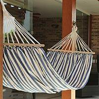 Cotton hammock with spreader bars, 'Ceara Parallels' (single) - Blue White Cotton Hammock with Spreader Bars (Single)