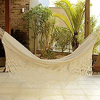 Cotton hammock, 'Manaus Bouquet' (single) - Brazilian Cotton Hammock with Crocheted Fringe (Single)