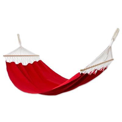 cotton hammock with spreader bars  u0027ceara red u0027  single    red cotton red cotton hammock with spreader bars  single    ceara red   novica  rh   novica