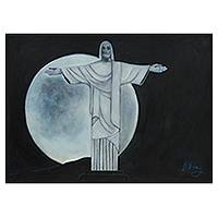'Christ the Redeemer and the Moon' - Original Signed Painting of Christ the Redeemer Stature