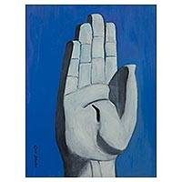 'Hand of Christ' - Brazil Original Signed Painting of Christ's Hand