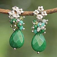 Jade and amazonite flower earrings, 'Flowering Green' - Jade Amazonite Peridot Earrings Rhodium Plated Flowers