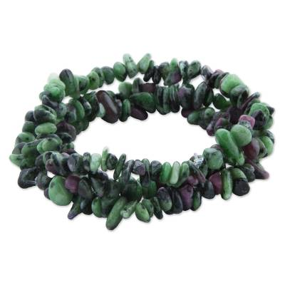 3 Green and Purple Zoisite Beaded Bracelets from Brazil