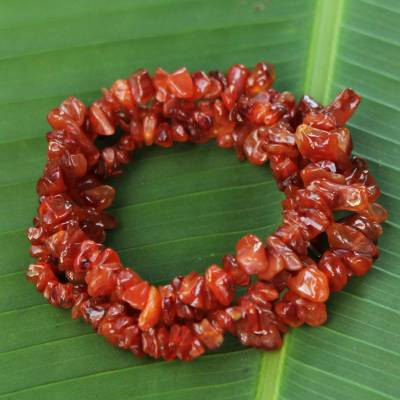 Agate beaded bracelet, 'Caramel Incantation' (set of 3) - 3 Handcrafted Red-Orange Agate Beaded Bracelets from Brazil