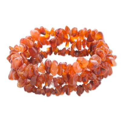 3 Handcrafted Red-Orange Agate Beaded Bracelets from Brazil