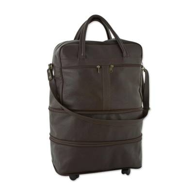 Dark Brown Leather Collapsible Travel Bag with Pockets
