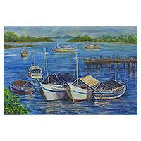 'Boats in Porto Seguro' - Original Signed Brazilian Seascape Painting