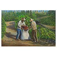 'Coffee Harvest' - Signed Original Brazilian Landscape Painting