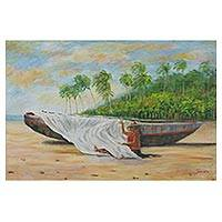 'Ceara Fisherman' - Brazilian Beach Scene Painting in Acrylics on Canvas