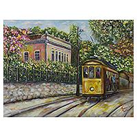 'Santa Tereza Trolley' (2007) - Nostalgic Painting of Santa Tereza in Rio de Janeiro