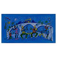 'Samba and Capoeira' - Signed Naif Brazilian Dance and Music Painting in Blue