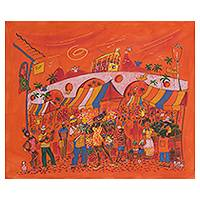 'Market of Flowers' - Original Brazil Fine Art Naif Painting in Orange