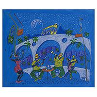 'Samba at Lapa' - Signed Rio de Janeiro Samba Painting in Blue