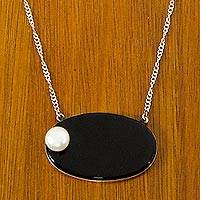Cultured pearl and agate necklace, 'Luna Carioca' - Sterling Silver Necklace with White Pearl on Agate Pendant