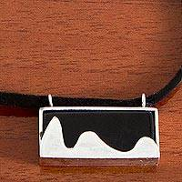 Leather and agate pendant necklace, 'Pão de Açucar in Black' - 925 Silver Brazilian Landmark on Agate and Leather Necklace
