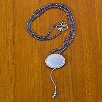 Cultured pearl and iolite pendant necklace, 'Rio Empress' - Artisan Crafted Iolite Beaded Necklace with Agate Pendant