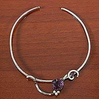 Cultured peals and amethyst choker, 'Beautiful Mystique' - Modern Brazilian 925 Silver Choker with Pearls and Amethyst