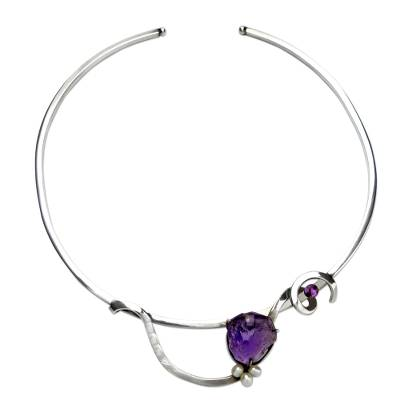 Modern Brazilian 925 Silver Choker with Pearls and Amethyst