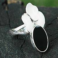 Black agate cocktail ring, 'Blooming Agate' - Artisan Crafted Sterling Silver and Black Agate Ring