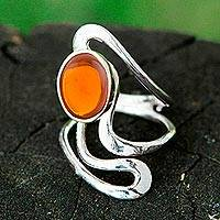 Amber cocktail ring, 'Amber Eclipse' - Artisan Crafted Amber and Sterling Silver Ring from Brazil