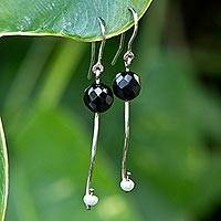 Agate and cultured pearl dangle earrings, 'Music Within' - White Pearl Black Agate 925 Sterling Silver Hook Earrings