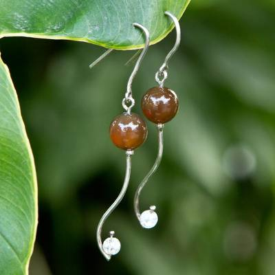 Agate dangle earrings, 'Music Within' - White Brown Agate 925 Sterling Silver Brazilian Earrings