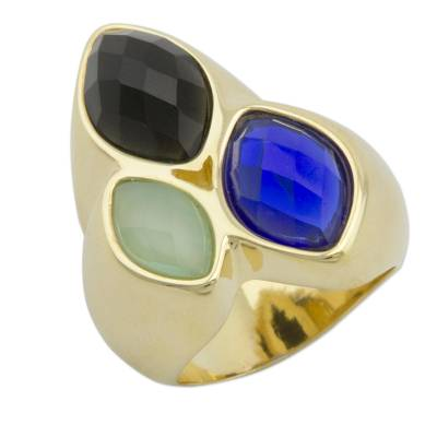 Gold Plated Onyx and Agate Cocktail Ring from Brazil