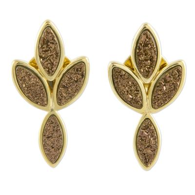 18k Gold Plated Brazilian Drusy Agate Earrings
