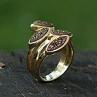 Brazilian drusy agate wrap ring, 'Bronze Foliage' - 18k Gold Plated Brazilian Drusy Agate Wrap Ring