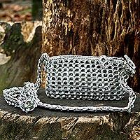 Soda pop-top shoulder bag, 'Eco Shine' - Crocheted Shoulder Bag with Recycled Aluminum Soda Can Tops