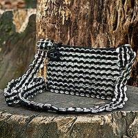 Soda pop-top cell phone bag, 'Black Mini Charm' - Crochet Cell Phone Bag with Recycled Aluminum Pop-Tops