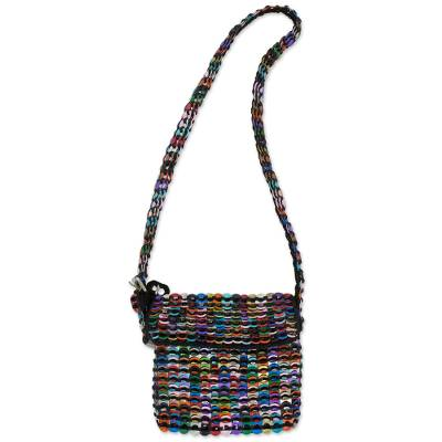 Black Shoulder Bag Crocheted of Multi-Color Pop Tops
