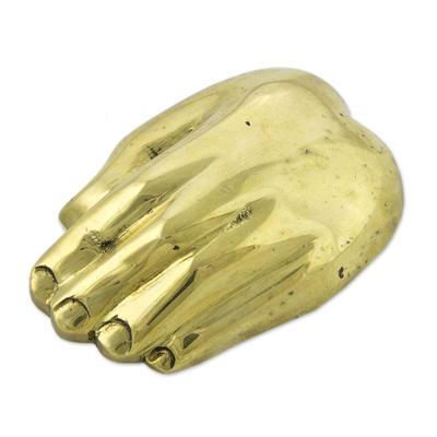 Signed Bronze Hand Sculpture Bottle Opener