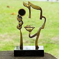 Bronze sculpture with photo frame, 'Visage' - Surreal Face in Bronze Sculpture with Round Photo Slot