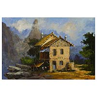 'The Cabin' - Signed Original Brazilian Mountain Cabin Painting