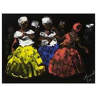 'Baianas I' - Bahia Women Painting on Black Velvet Signed Painting