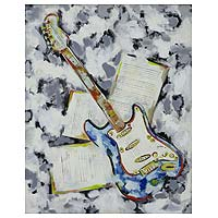 'Guitar of Dreams II' - Signed Painting of Floating Electrical Guitar from Brazil