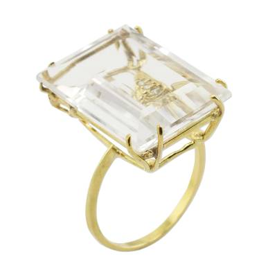 Artisan Crafted Gold and Quartz Ring with Diamond Accents