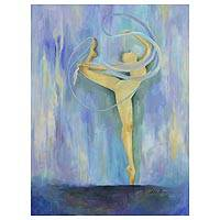 'Energy' - Signed Brazilian Expressionist Dance Painting in Blue