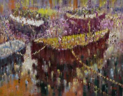 'Marina' - Original Brazilian Expressionist Painting of Boats
