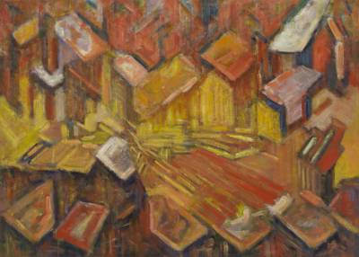 'Metropolis - Abstract Brazilian Cityscape Painting in Warm Colors