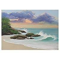 'Sunset at the Beach' - Limited Edition Signed Brazilian Beach Scene Painting