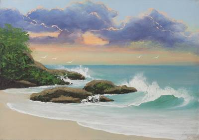 Sunset At The Beach Limited Edition Signed Brazilian Scene Painting