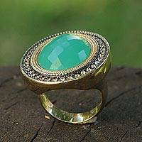 Gold plated aquamarine cocktail ring, 'Aqua Diva' - Aquamarine Gold Plated Cocktail Ring with Rhodium