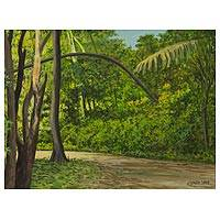 'Trail in Tijuca Forest' - Original Acrylic Landscape Painting on Canvas from Brazil