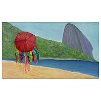 'Vendedora de Bikini' - Original Acrylic Beach Painting on Canvas from Brazil