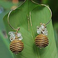 Crystal and golden grass dangle earrings, 'Crystal Spheres' - Fair Trade Crystal Accented Golden Grass Dangle Earrings